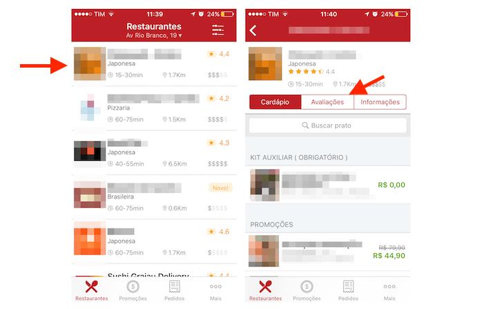 Acessando a tela de avaliações para um restaurante no iFood para iPhone (Foto: Reprodução/Marvin Costa)