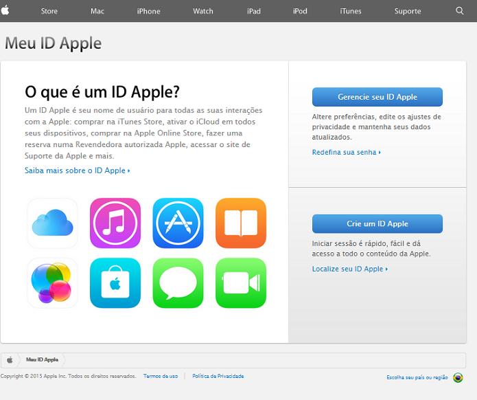 Acessando o site de gerenciamento de contas da Apple (Foto: Reprodução/Thiago Barros)