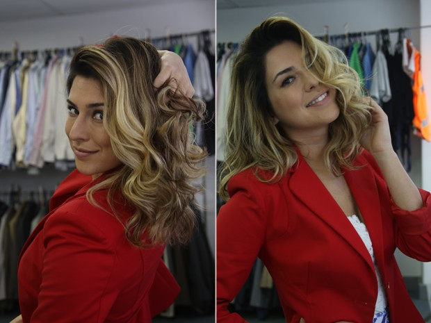 Fernanda Paes Leme nos bastidores do 'Odeio Segundas' (Foto: Almir Chiaratti)