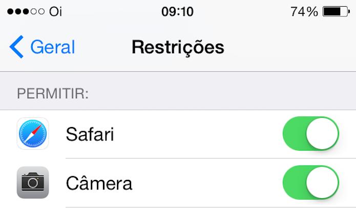 Definindo as restrições no iPhone (Foto: Reprodução/Edivaldo Brito)