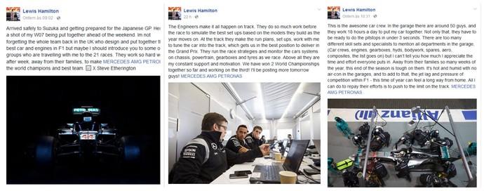 Série de posts de Lewis Hamilton no facebook sobre Mercedes (Foto: Reprodução)