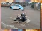 Motociclista é levado por enxurrada ao tentar salvar moto em Avaré; vídeo