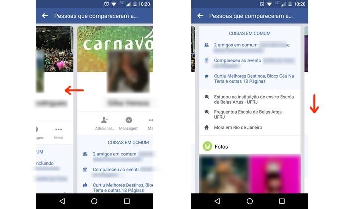 Navegação por diferentes resumos de perfil na ferramenta do Facebook para encontrar pessoas (Foto: Reprodução/Raquel Freire)