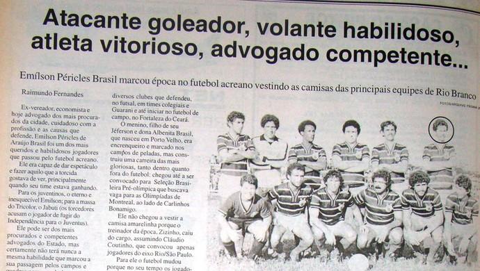 Matéria sobre Emilson Brasil no Jornal Página 20, do Acre (Foto: Manoel Façanha/Arquivo pessoal)