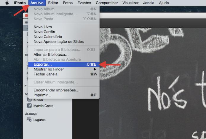 Utilizando a ferramenta de exportação de arquivos do iPhoto (Foto: Reprodução/Marvin Costa)