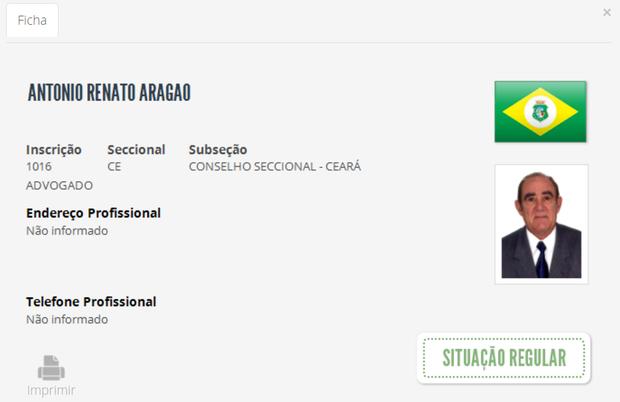 OAB de Renato Aragão (Foto: Reprodução/ site da OAB)