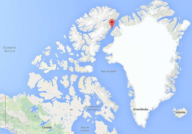 Localização da Ilha Hans no mapa-mundi (FOTO: REPRODUÇÃO | GOOGLE MAPS)