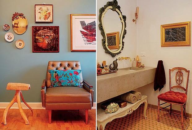 Tendência na decoração, o resgate da natureza aparece nas cores e na montagem da sala de TV. Na parede, gravura de Maria Bonomi, pintura em veludo de um veado e pratos comprados na feira de San Telmo, em Buenos Aires. Ao lado da poltrona de capitonê resta (Foto: Casa e Jardim)
