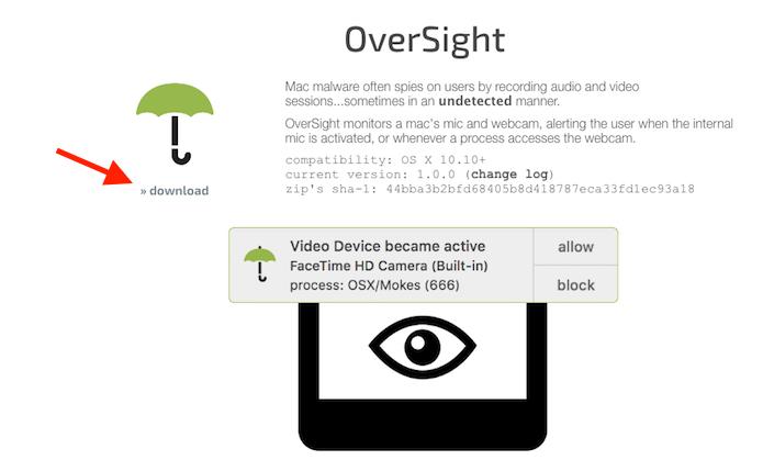 Opção de download na página da web do software OverSight que bloqueia tentativas de acesso à webcam do Mac (Foto: Reprodução/Marvin Costa)