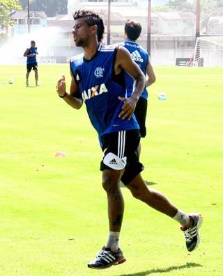 Leo Moura e Hernane treino Flamengo (Foto: Thales Soares)