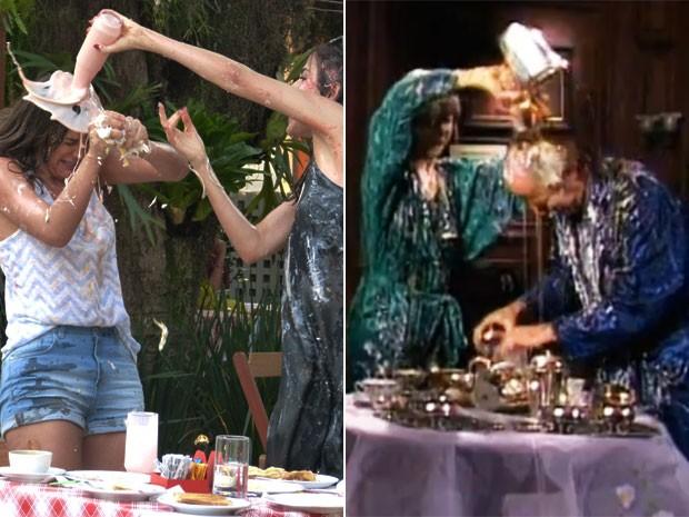Bruna Marquezine e Maria Casadevall revivem cena icônica de Fernanda Montenegro e Paulo Autran, de Guerra dos Sexos, em 1980 (Foto: Juliana Freitas/Gshow/Nelson Di Rago/TV Globo)