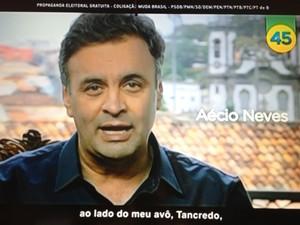 Aécio Neves fala em seu último programa eleitoral
