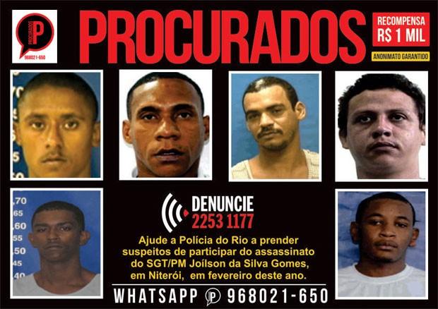 Disque-Denúncia pede ajuda para encontrar os suspeitos do assassinato de um Policial Militar em Niterói (Foto: Divulgação / Disque-Denúncia)