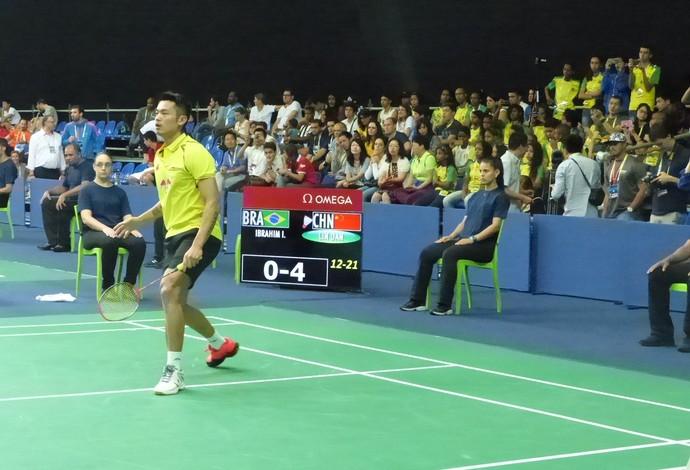 Lin Dan, evento-teste, badminton (Foto: Matheus Tibúrcio)