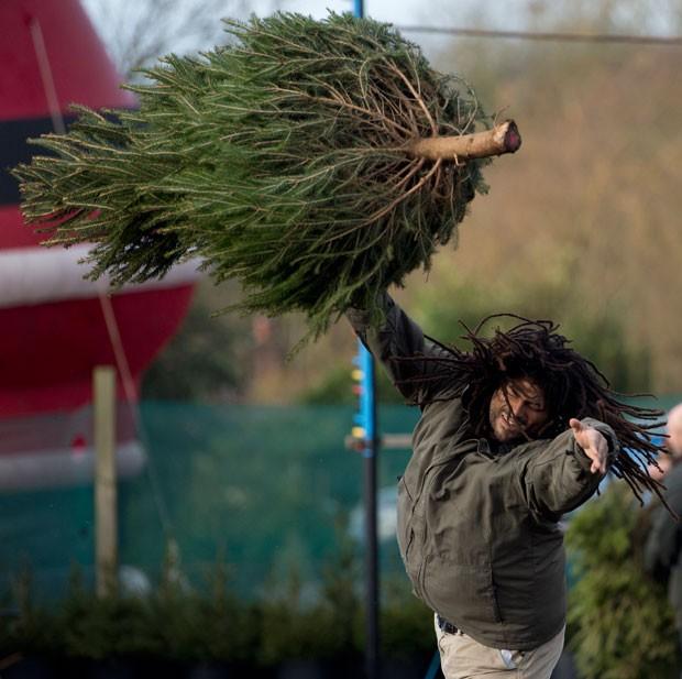 Participantes tiveram que arremessar uma árvore de 1,8 metro (Foto: Oli Scarff/AFP)