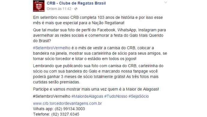 Na internet, clube explicou a promoção (Foto: Reprodução Facebook CRB)