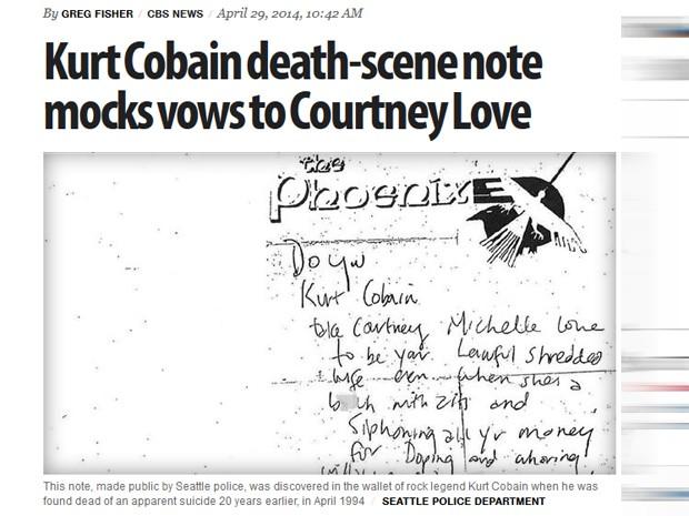 A polícia de Seattle revelou na terça-feira (29) um bilhete encontrado na carteira de Kurt Cobain após seu suicídio em 1994 (Foto: Reprodução/CBS News)