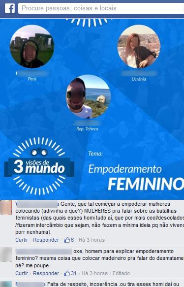 Internautas reclamam de presença de dois homens em palestra sobre empoderamento feminino em Balneário Camboriú (Foto: Reprodução)