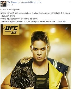 Post Amanda Nunes UFC 213 (Foto: Reprodução Internet)