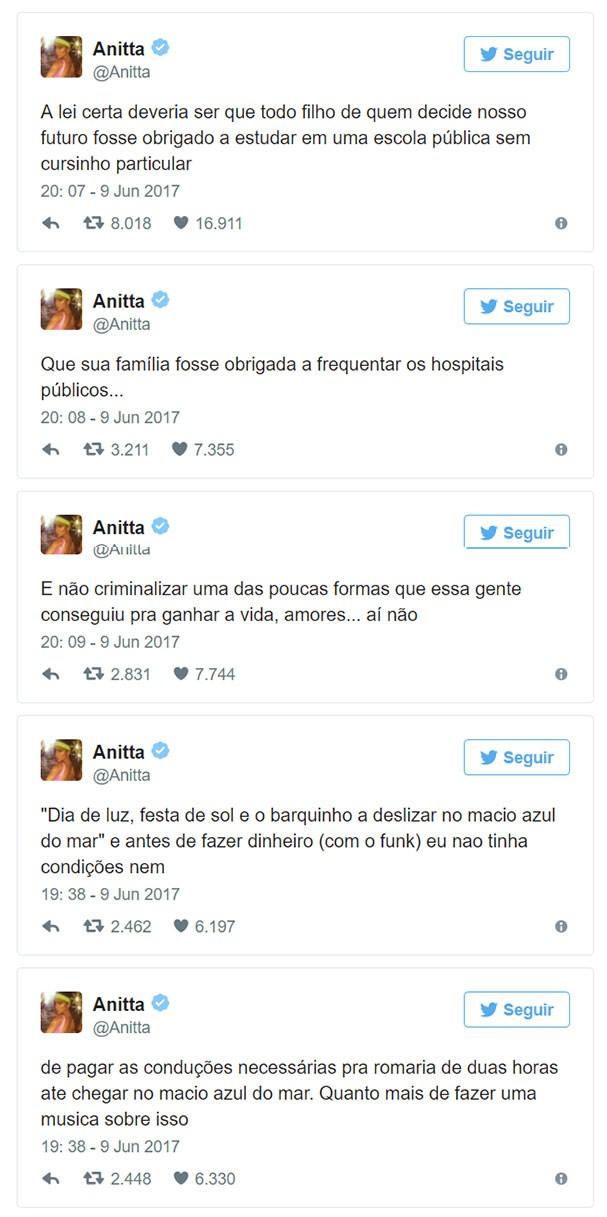 Anitta critica a proposta para criminalizar o funk (Foto: Reprodução/Twitter)