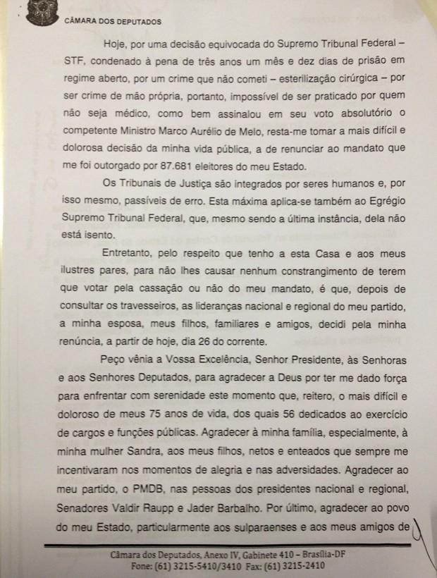 Carta de renúncia do deputado Asdrubal Bentes (página 2) (Foto: Reprodução)