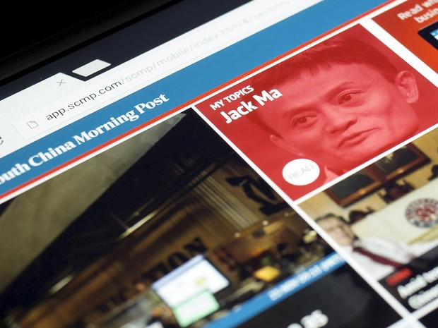 Página do jornal chinês com a foto de Jack Ma, dono do Alibaba (Foto: REUTERS/Tyrone Siu/Files)