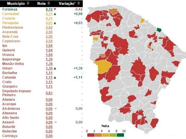 Maior parte das cidades do Ceará tem nota baixa ou zero em transparência (Foto: CGU/Reprodução)