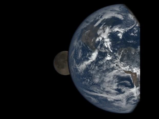 Um satélite americano estacionado a um milhão de milhas (1,6 milhão de km) da Terra conseguiu um registro único de um eclipse lunar (Foto: BBC)
