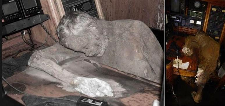 Corpo de Manfred mumificado no seu iate à deriva