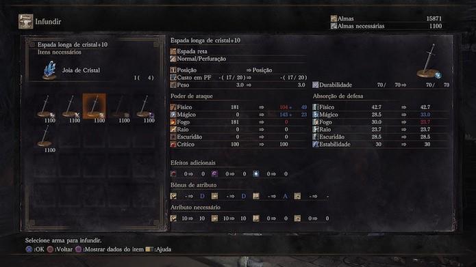 Dark Souls 3: você pode infundir as armas para aplicar efeitos adicionais (Foto: Reprodução/Victor Teixeira)