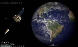 O satélite GOES-12, do NOAA (Foto: Reprodução/ NOAA/ TouTube)
