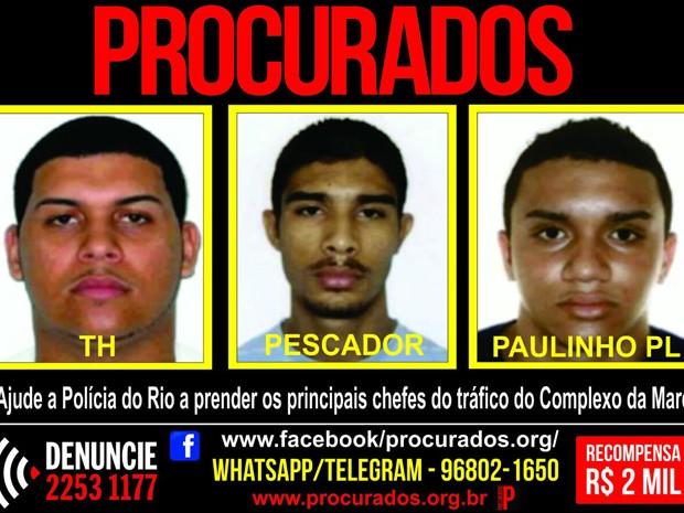 Suspeitos procurados por ataque são considerados chefes do tráfico na Maré (Foto: Divulgação/Portal dos Procurados)