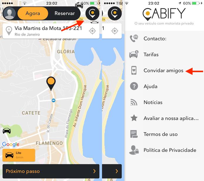 Opção que inicia a tela de convite para amigos no Cabify (Foto: Reprodução/Marvin Costa)