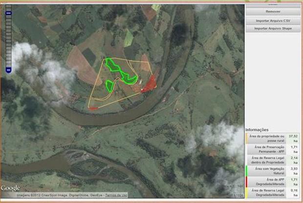 Imagem do sistema do Cadastro Ambiental Rural (CAR), registro eletrônico obrigatório para todos os imóveis rurais do país (Foto: Reprodução)