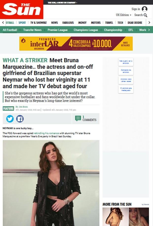 Jornal inglês The Sun comete gafe sobre virgindade de Bruna Marquezine (Foto: Reprodução)