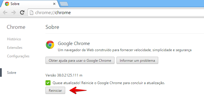 Reinicie o navegador para aplicar a atualização (Foto: Reprodução/Helito Bijora)