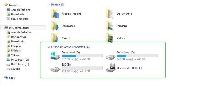 Um disco SSD formatado aparece automaticamente na lista de unidades quando o computador é ligado (Foto: Reprodução/Adriano Hamaguchi)