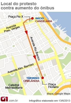 Mapa protesto (Foto: Editoria de Arte/G1)