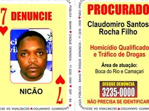 Claudomiro Santos Rocha Filho, o Nicão do Baralho do Crime (Foto: Divulgação/SSP)