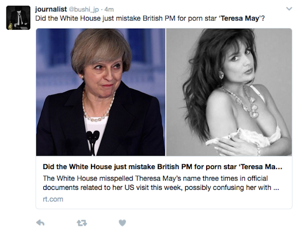 Uma piada com a confusão envolvendo Theresa May e Theresa May (Foto: Twitter)