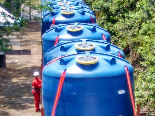 Vale distribui água em municípios de MG e ES após rompimento de barragem em Mariana (Foto: Divulgação / Vale)