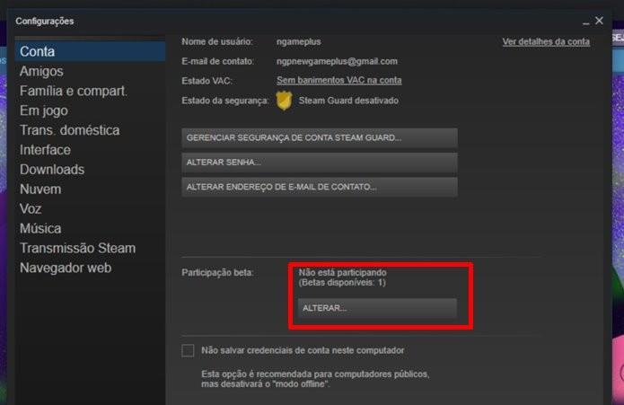Entrada no Beta do Steam dá acesso a funções antes do público em geral (Foto: Reprodução/Felipe Demartini)