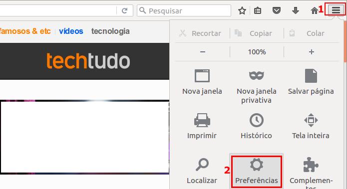 Acessando as preferências do Firefox (Foto: Reprodução/Edivaldo Brito)