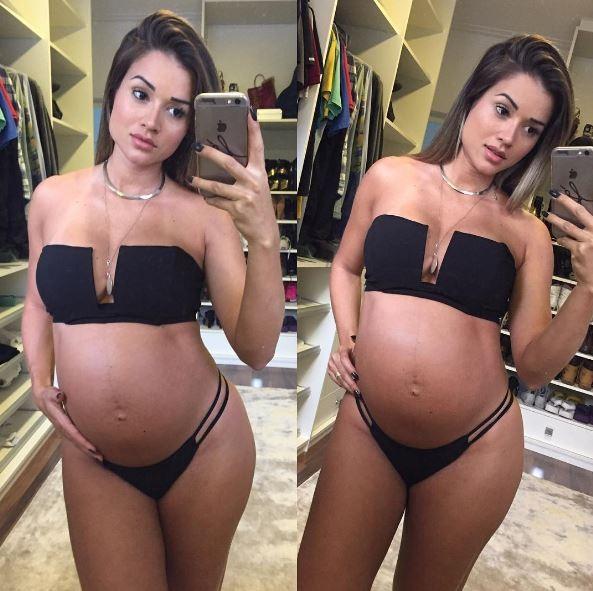 Aryane Steinkopf  com barrigão de grávida (Foto: Instagram / Reprodução)