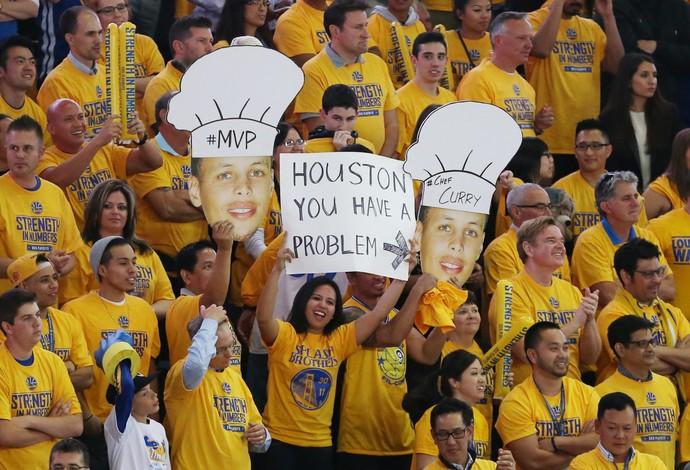 torcida warrios cartaz houston playoffs nba oeste (Foto: Reuters)