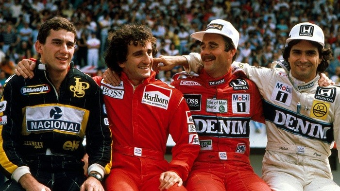 Foto histórica Senna, Prost, Mansell e Piquet