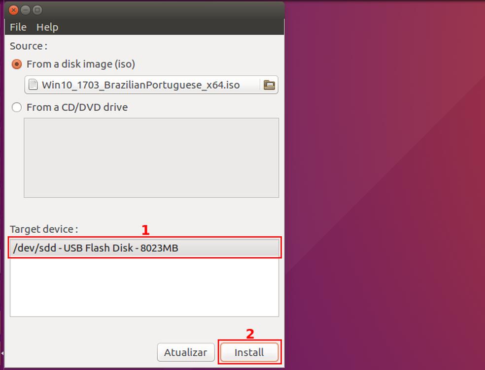 Iniciando a gravação do pendrive bootável do Windows (Foto: Edivaldo Brito/TechTudo)