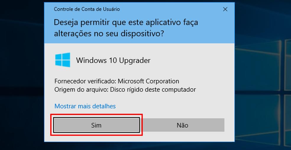 Autorizando a execução do Assistente de Atualização do Windows 10 (Foto: Reprodução/Edivaldo Brito)