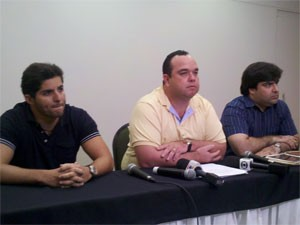 Joo Marcelo Pires, Waldir Xavier e Bruno Coelho da Silveira, na coletiva (Foto: Katherine Coutinho/G1 PE)