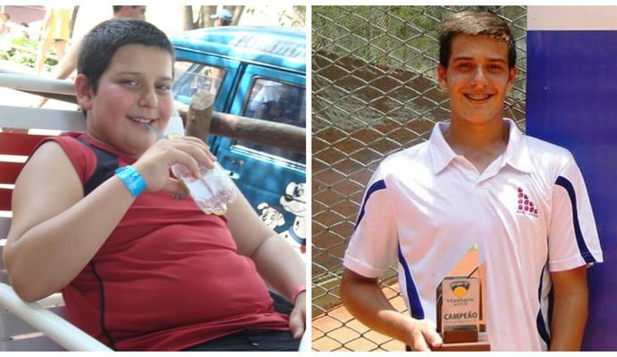 Giovanni antes e depois do tênis (Foto: Giovanni Cury Fragalle/Arquivo Pessoal)